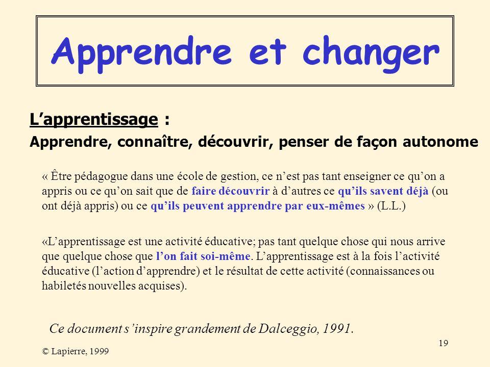 © Lapierre, 1999 19 Lapprentissage : Apprendre, connaître, découvrir, penser de façon autonome Apprendre et changer « Être pédagogue dans une école de