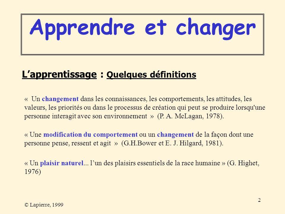 © Lapierre, 1999 2 Lapprentissage : Quelques définitions « Un changement dans les connaissances, les comportements, les attitudes, les valeurs, les pr