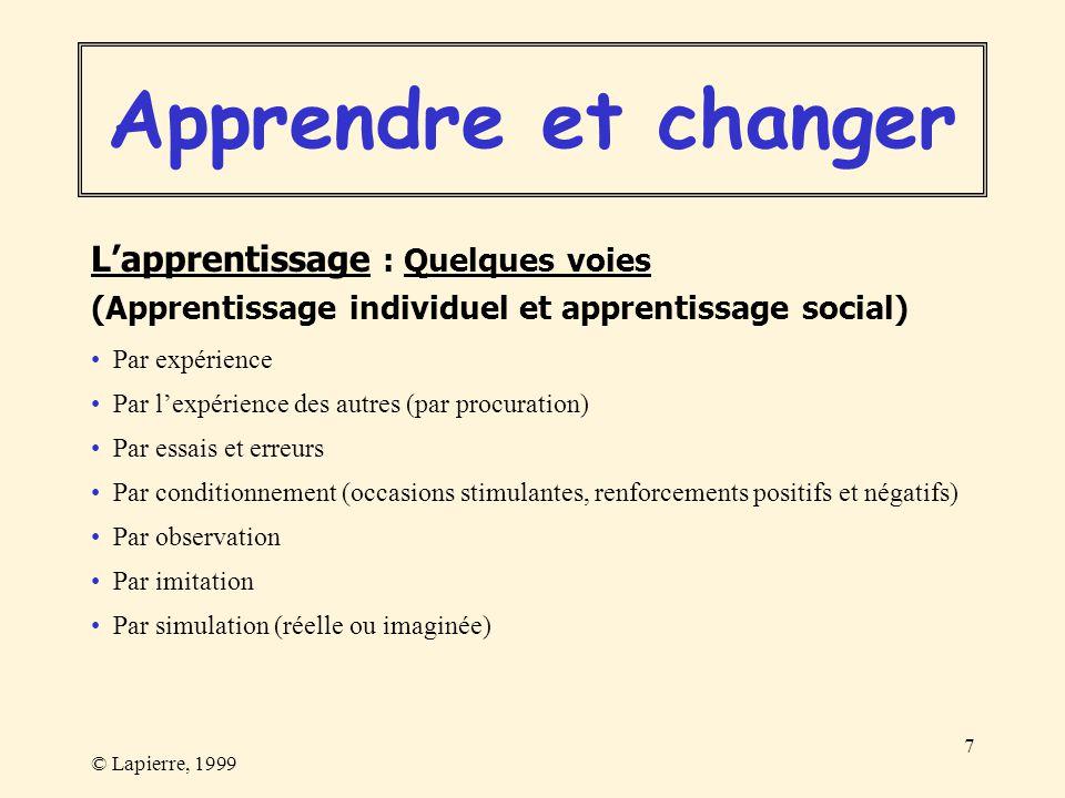 © Lapierre, 1999 7 Lapprentissage : Quelques voies (Apprentissage individuel et apprentissage social) Par expérience Par lexpérience des autres (par p
