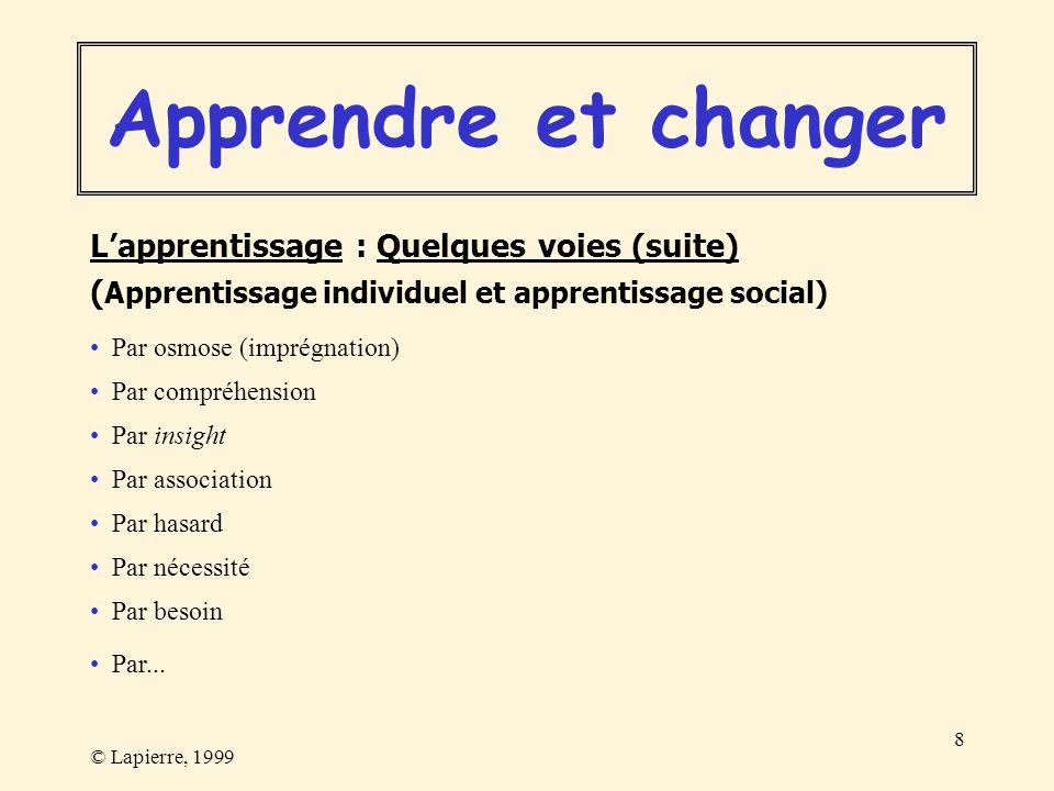 © Lapierre, 1999 8 Par osmose (imprégnation) Par compréhension Par insight Par association Par hasard Par nécessité Par besoin Par... Lapprentissage :