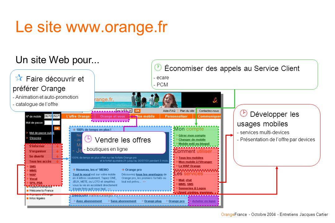 OrangeFrance - Octobre 2004 - Entretiens Jacques Cartier Le site www.orange.fr Un site Web pour...