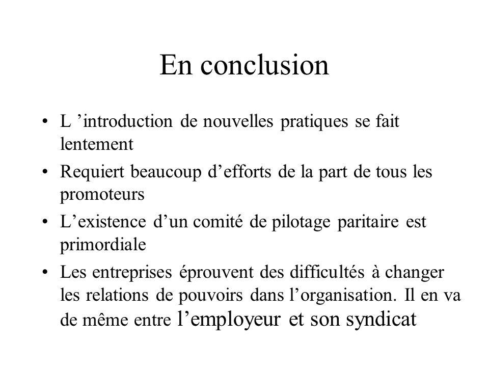 En conclusion L introduction de nouvelles pratiques se fait lentement Requiert beaucoup defforts de la part de tous les promoteurs Lexistence dun comi