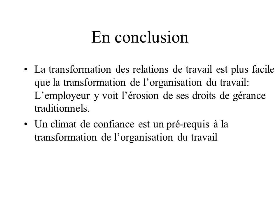 En conclusion La transformation des relations de travail est plus facile que la transformation de lorganisation du travail: Lemployeur y voit lérosion