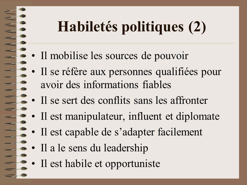 Habiletés politiques (2) Il mobilise les sources de pouvoir Il se réfère aux personnes qualifiées pour avoir des informations fiables Il se sert des conflits sans les affronter Il est manipulateur, influent et diplomate Il est capable de sadapter facilement Il a le sens du leadership Il est habile et opportuniste