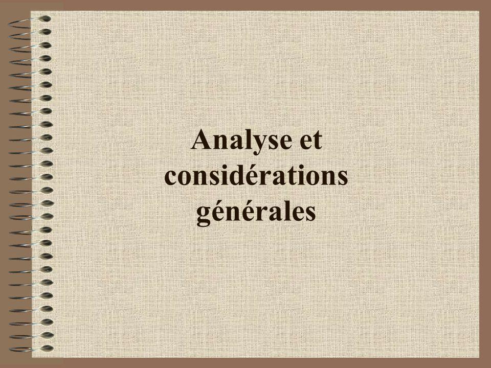 Analyse et considérations générales