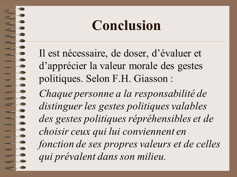 Conclusion Il est nécessaire, de doser, dévaluer et dapprécier la valeur morale des gestes politiques. Selon F.H. Giasson : Chaque personne a la respo
