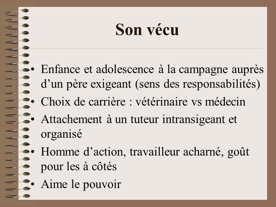Son vécu Enfance et adolescence à la campagne auprès dun père exigeant (sens des responsabilités) Choix de carrière : vétérinaire vs médecin Attacheme