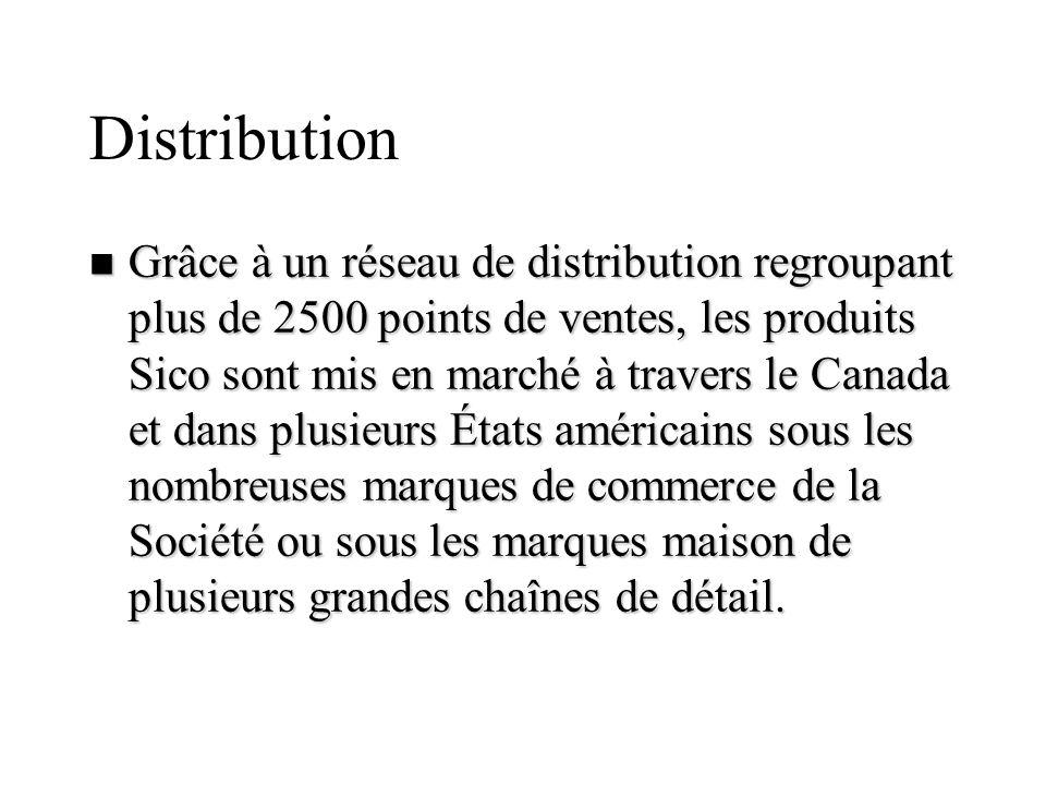 Distribution n Grâce à un réseau de distribution regroupant plus de 2500 points de ventes, les produits Sico sont mis en marché à travers le Canada et