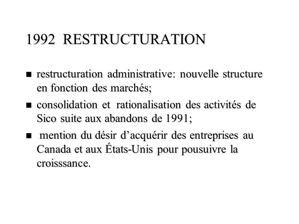 1992 RESTRUCTURATION n restructuration administrative: nouvelle structure en fonction des marchés; n consolidation et rationalisation des activités de