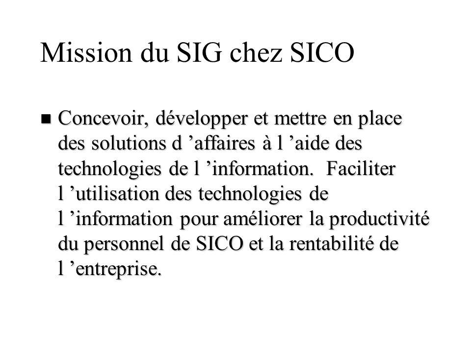 Mission du SIG chez SICO n Concevoir, développer et mettre en place des solutions d affaires à l aide des technologies de l information. Faciliter l u