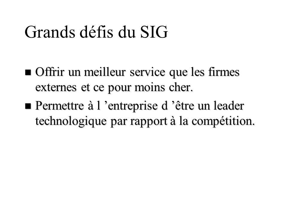 Grands défis du SIG n Offrir un meilleur service que les firmes externes et ce pour moins cher. n Permettre à l entreprise d être un leader technologi