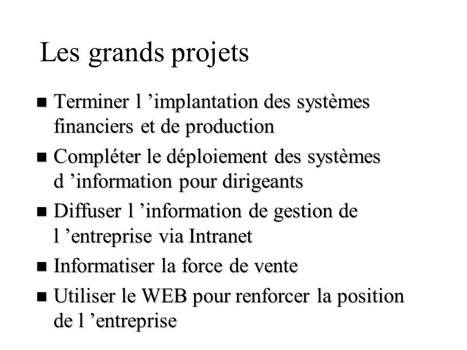 Les grands projets n Terminer l implantation des systèmes financiers et de production n Compléter le déploiement des systèmes d information pour dirig