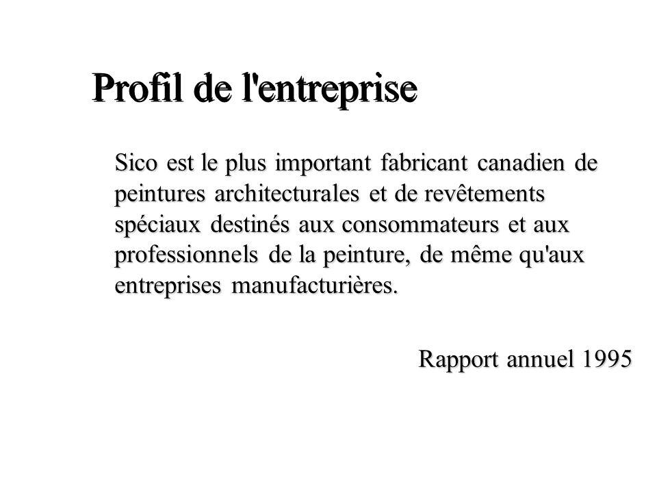Profil de l'entreprise Sico est le plus important fabricant canadien de peintures architecturales et de revêtements spéciaux destinés aux consommateur