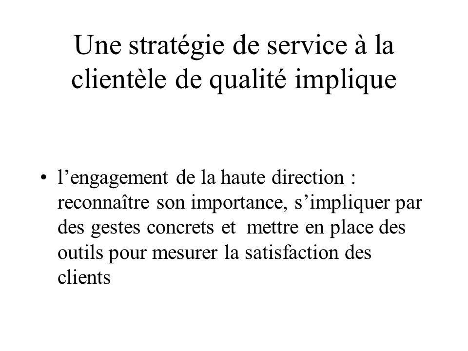 Une stratégie de service à la clientèle de qualité implique lengagement de la haute direction : reconnaître son importance, simpliquer par des gestes concrets et mettre en place des outils pour mesurer la satisfaction des clients