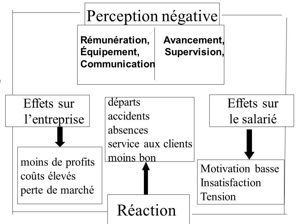 Perception négative Rémunération, Avancement, Équipement, Supervision, Communication Motivation basse Insatisfaction Tension Réaction Effets sur lentr