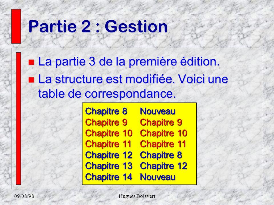 09/08/98Hugues Boisvert Chapitre 7 n Enrichissement. n Généralisation de la méthode. n Douze exercices additionnelles. n Changement de niveau 3.