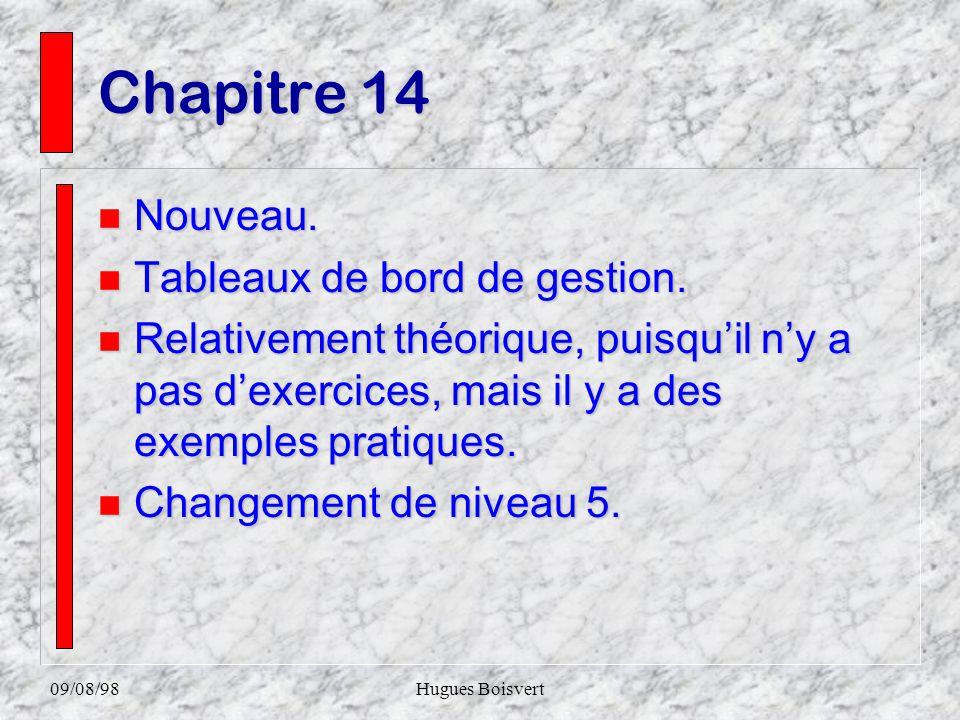 09/08/98Hugues Boisvert Chapitre 13 nAnAnAnAncien chapitre 12. nEnEnEnEnrichissement surtout au niveau des exercices. nCnCnCnChangement de niveau 2.
