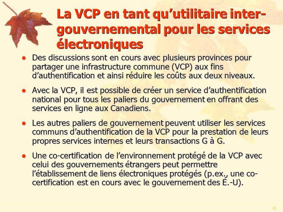15 La VCP en tant quutilitaire inter- gouvernemental pour les services électroniques l Des discussions sont en cours avec plusieurs provinces pour partager une infrastructure commune (VCP) aux fins dauthentification et ainsi réduire les coûts aux deux niveaux.