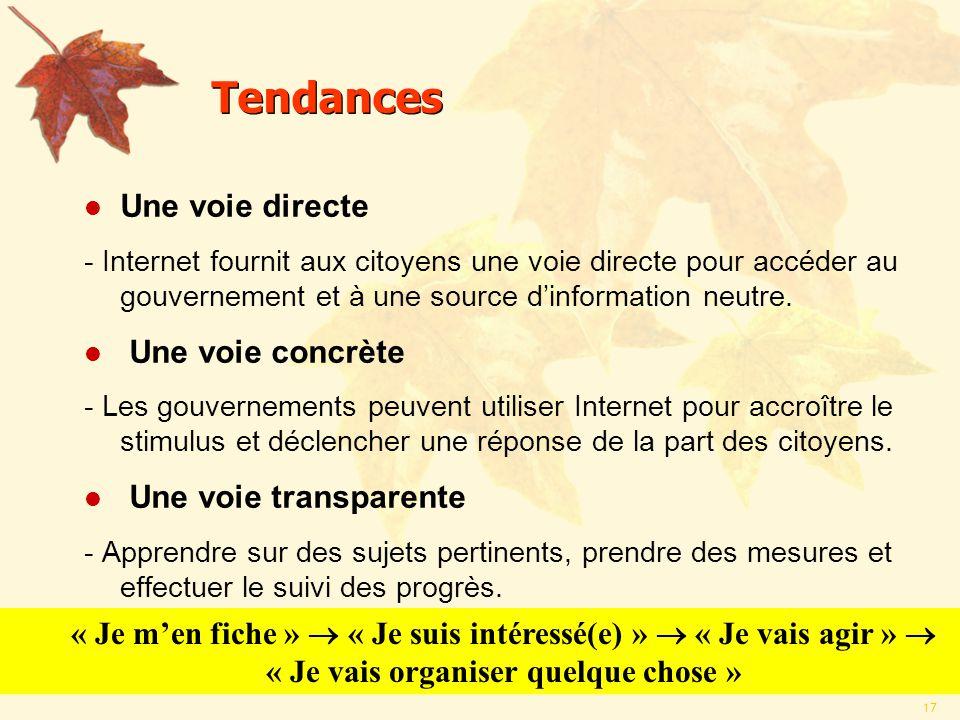 17 Tendances l l Une voie directe - Internet fournit aux citoyens une voie directe pour accéder au gouvernement et à une source dinformation neutre.