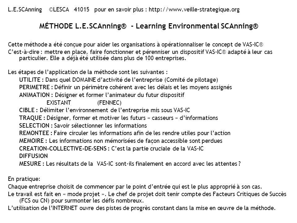 L.E.SCAnning ©LESCA 41015 pour en savoir plus : http://www.veille-strategique.org MÉTHODE L.E.SCAnning® - Learning Environmental SCAnning® Cette méthode a été conçue pour aider les organisations à opérationnaliser le concept de VAS-IC® Cest-à-dire : mettre en place, faire fonctionner et pérenniser un dispositif VAS-IC® adapté à leur cas particulier.