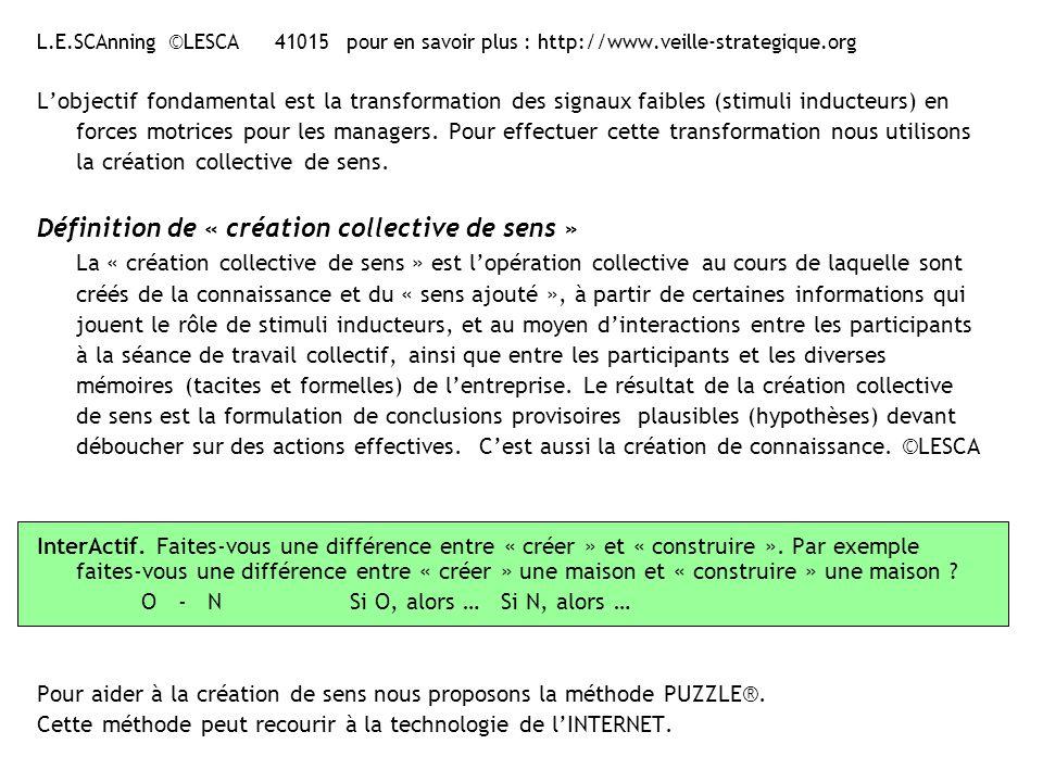 L.E.SCAnning ©LESCA 41015 pour en savoir plus : http://www.veille-strategique.org SIGNAL FAIBLE définition ANSOFF attribue aux « weak signals » un caractère anticipatif.