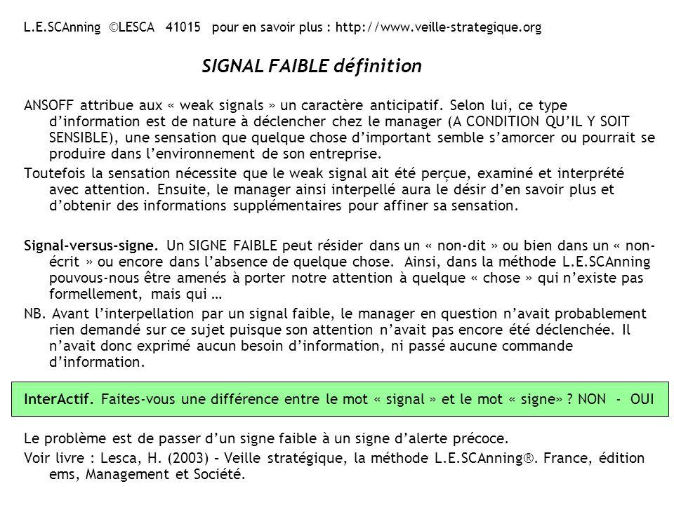 Exemple -1-Creation-sens-souad ©LESCA La création collective de sens : un moyen efficace pour amorcer lintérêt des dirigeants à légard des informations anticipatives, notamment de type « signal faible » .