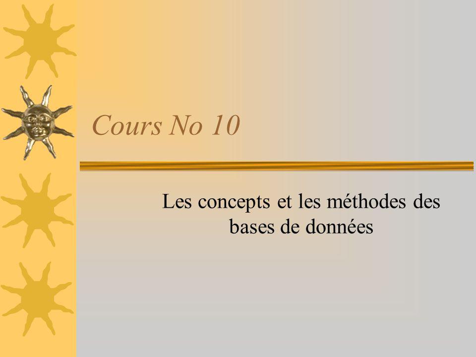Cours No 10 Les concepts et les méthodes des bases de données