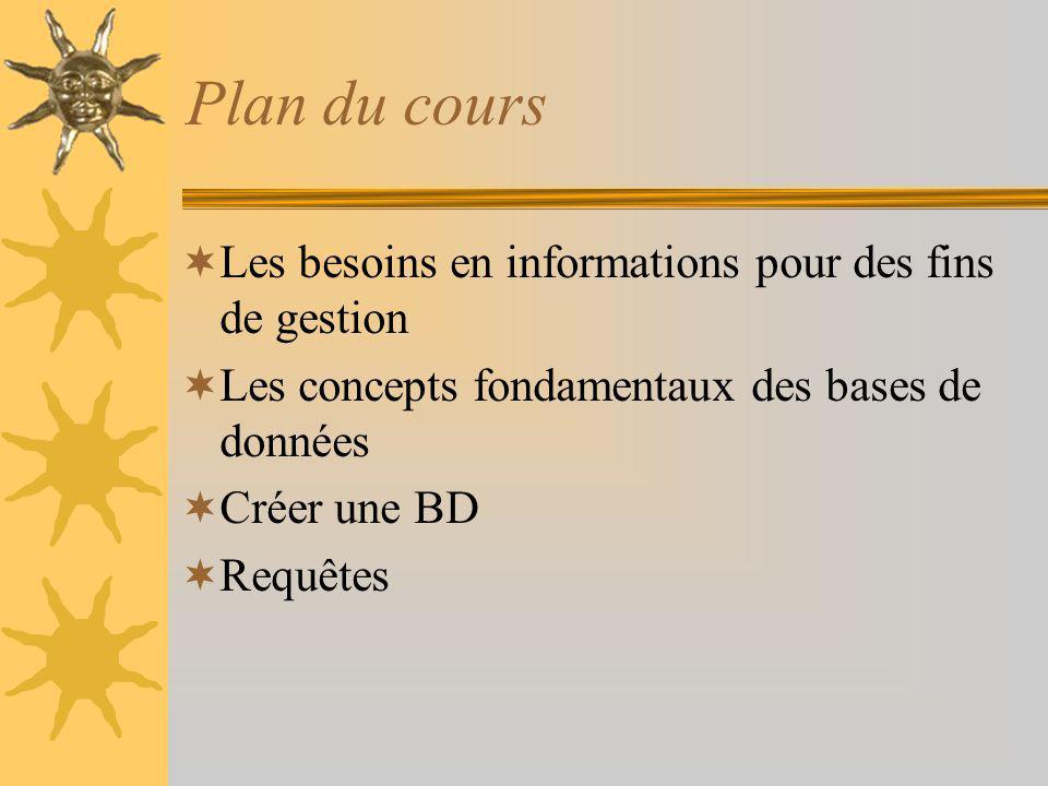 Plan du cours Les besoins en informations pour des fins de gestion Les concepts fondamentaux des bases de données Créer une BD Requêtes