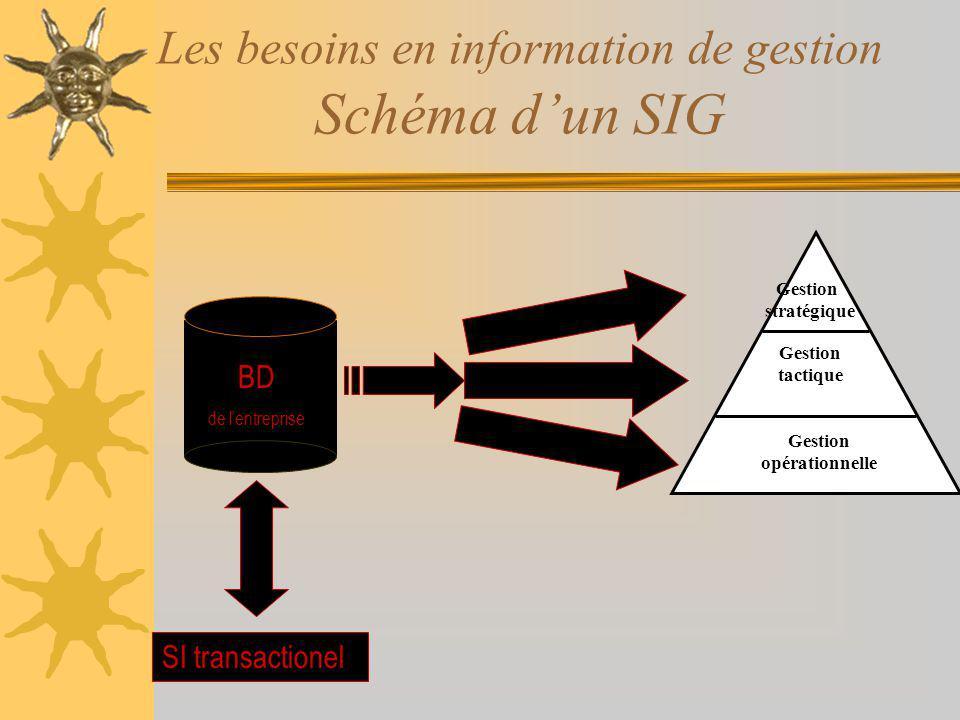 Les besoins en information de gestion Schéma dun SIG BD de lentreprise SI transactionel Gestion stratégique Gestion tactique Gestion opérationnelle