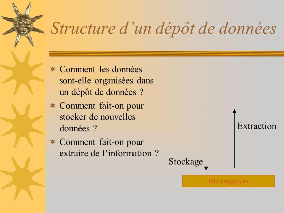 Structure dun dépôt de données Comment les données sont-elle organisées dans un dépôt de données ? Comment fait-on pour stocker de nouvelles données ?