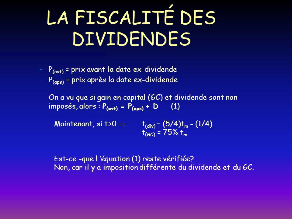 LA FISCALITÉ (SUITE) – –Si GC et dividende sont imposés de différentes façons ( P = prix d acquisition de l action ): Celui qui vend l action avant la date ex-dividende reçoit: FM (avt) = P (avt) - ( P (avt) - P )t gc Celui qui vend l action après la date ex-dividende reçoit: FM (aps) = P (aps) - (P (aps) - P )t gc + D(1 - t (div) ) Pour l investisseur marginal, il y a indifférence entre les 2, donc: P (avt) - (P (avt) - P ) t gc = P (aps) - ( P (aps) - P ) t gc + D( 1 - t (div) ) Les termes en P disparaissent: P (avt) (1 - t gc ) = P (avt) ( 1 - t gc ) + D ( 1 - t (div) ) ( P (avt) - P (aps) ) / D = ( 1 - t (div) ) / ( 1 - t gc )
