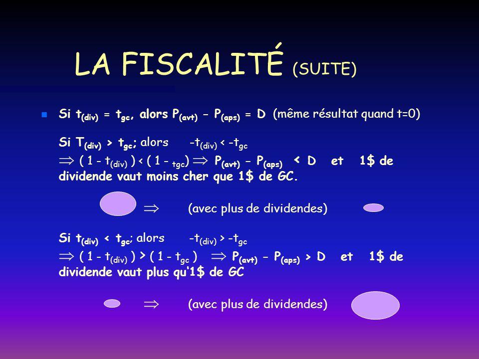 LA FISCALITÉ (SUITE) n n Si t (div) = t gc, alors P (avt) - P (aps) = D (même résultat quand t=0) Si T (div) > t gc ; alors -t (div) -t gc ( 1 - t (di