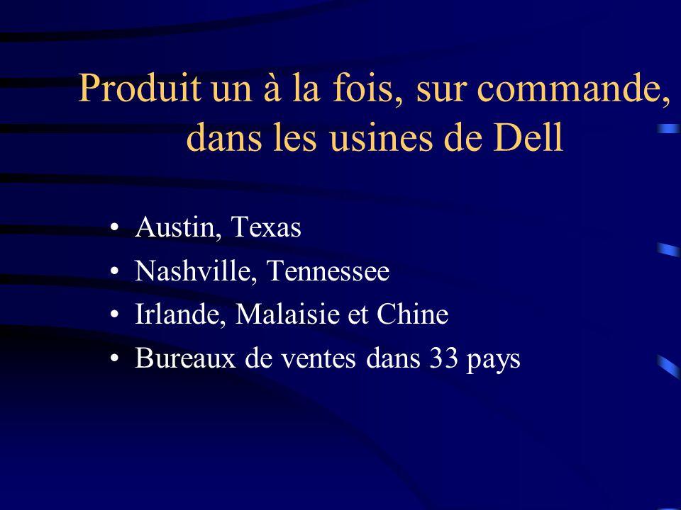 Produit un à la fois, sur commande, dans les usines de Dell Austin, Texas Nashville, Tennessee Irlande, Malaisie et Chine Bureaux de ventes dans 33 pays