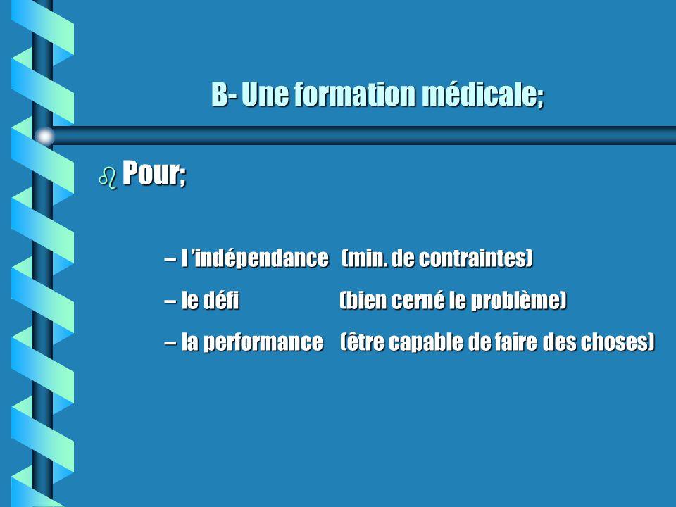 B- Une formation médicale; b Pour; –l indépendance (min. de contraintes) –le défi (bien cerné le problème) –la performance (être capable de faire des