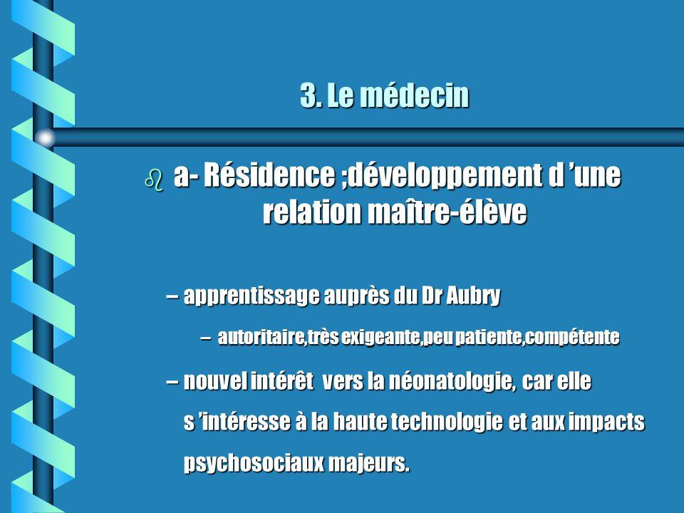 3. Le médecin 3. Le médecin b a- Résidence ;développement d une relation maître-élève –apprentissage auprès du Dr Aubry –autoritaire,très exigeante,pe