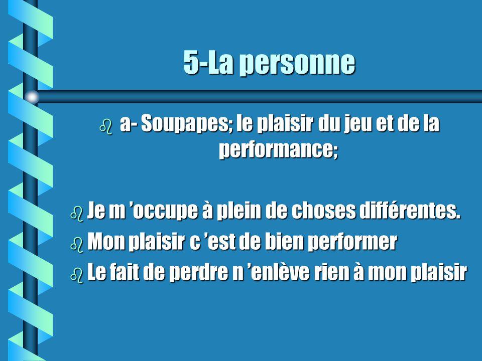 5-La personne b a- Soupapes; le plaisir du jeu et de la performance; b Je m occupe à plein de choses différentes.