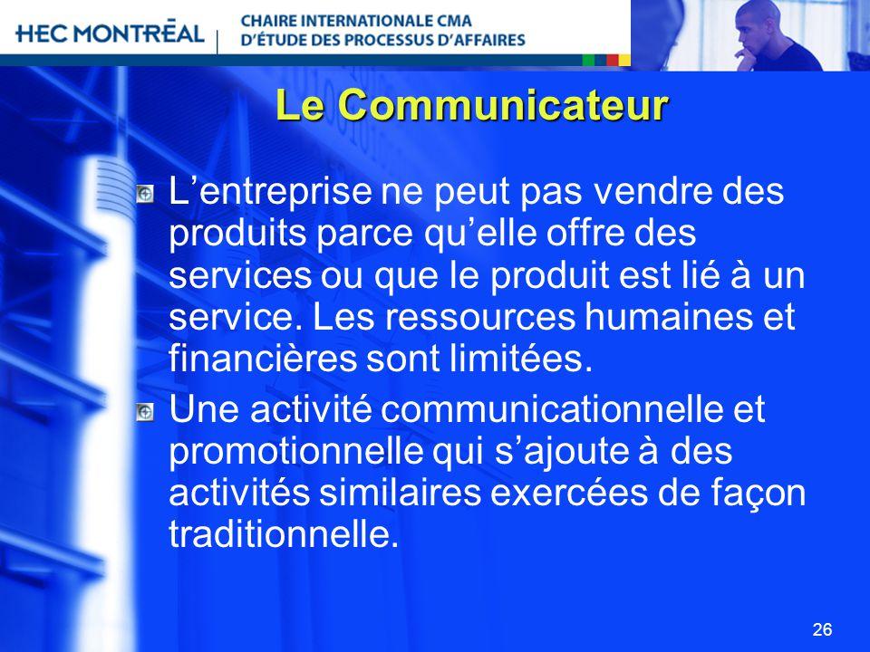 26 Le Communicateur Lentreprise ne peut pas vendre des produits parce quelle offre des services ou que le produit est lié à un service. Les ressources