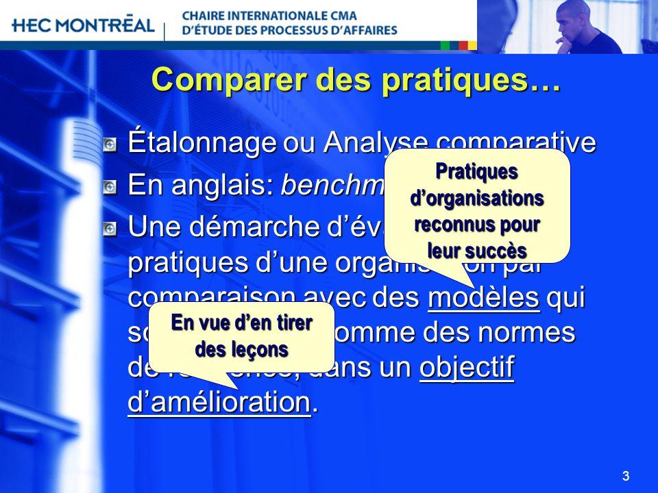 3 Comparer des pratiques… Étalonnage ou Analyse comparative En anglais: benchmarking Une démarche dévaluation des pratiques dune organisation par comp