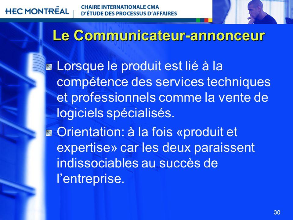 30 Le Communicateur-annonceur Lorsque le produit est lié à la compétence des services techniques et professionnels comme la vente de logiciels spécial