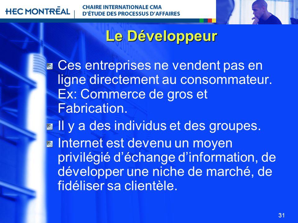 31 Le Développeur Ces entreprises ne vendent pas en ligne directement au consommateur. Ex: Commerce de gros et Fabrication. Il y a des individus et de