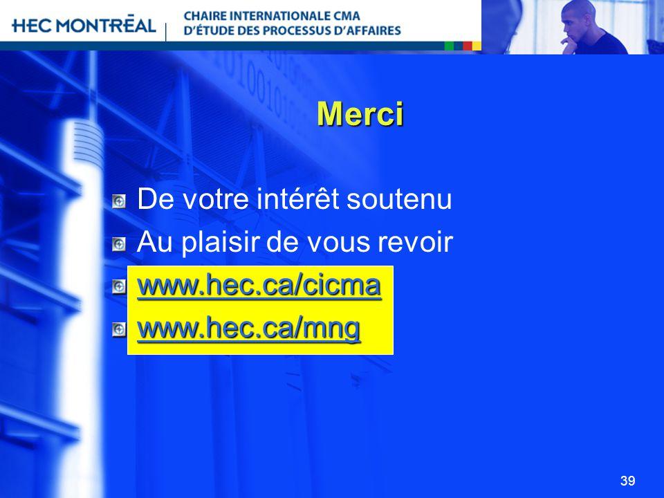 39 De votre intérêt soutenu Au plaisir de vous revoir www.hec.ca/cicma www.hec.ca/mng Merci