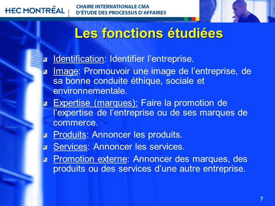 7 Les fonctions étudiées Identification: Identifier lentreprise. Image: Promouvoir une image de lentreprise, de sa bonne conduite éthique, sociale et