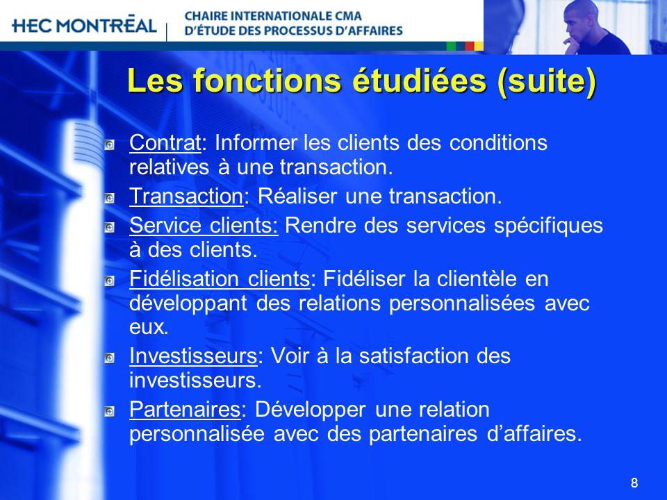 8 Les fonctions étudiées (suite) Contrat: Informer les clients des conditions relatives à une transaction. Transaction: Réaliser une transaction. Serv