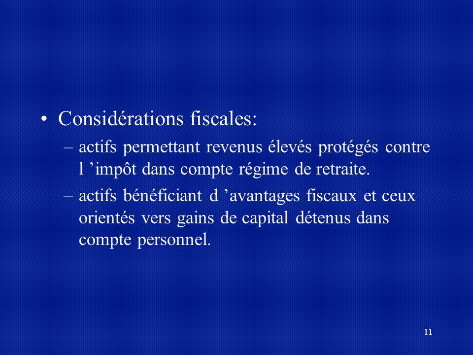 11 Considérations fiscales: –actifs permettant revenus élevés protégés contre l impôt dans compte régime de retraite. –actifs bénéficiant d avantages