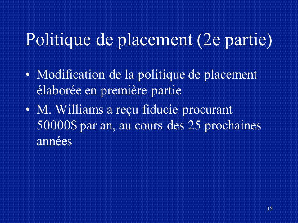 15 Politique de placement (2e partie) Modification de la politique de placement élaborée en première partie M. Williams a reçu fiducie procurant 50000