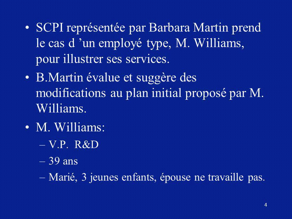 4 SCPI représentée par Barbara Martin prend le cas d un employé type, M. Williams, pour illustrer ses services. B.Martin évalue et suggère des modific