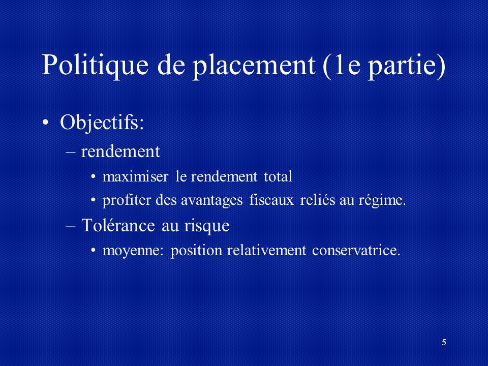 5 Politique de placement (1e partie) Objectifs: –rendement maximiser le rendement total profiter des avantages fiscaux reliés au régime. –Tolérance au
