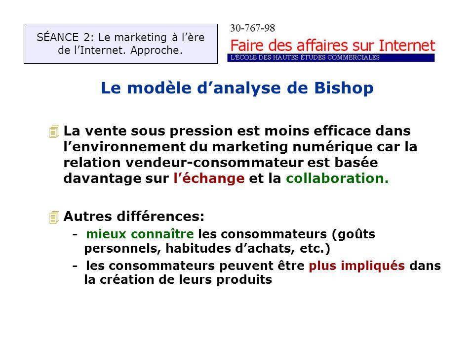 Le modèle danalyse de Bishop 4La vente sous pression est moins efficace dans lenvironnement du marketing numérique car la relation vendeur-consommateur est basée davantage sur léchange et la collaboration.
