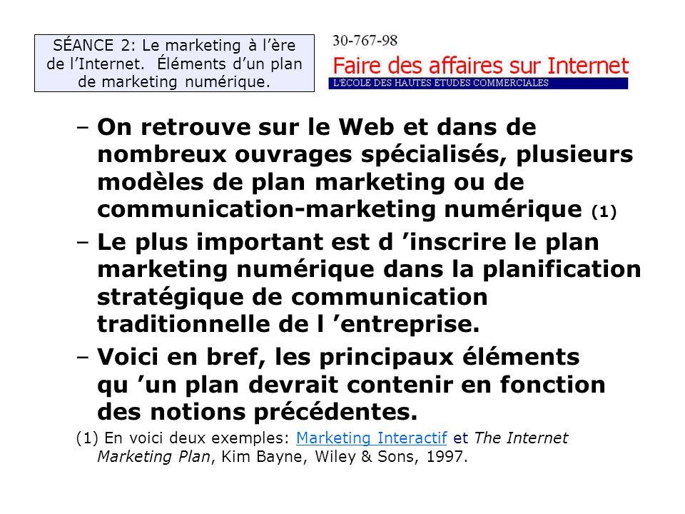 –On retrouve sur le Web et dans de nombreux ouvrages spécialisés, plusieurs modèles de plan marketing ou de communication-marketing numérique (1) –Le plus important est d inscrire le plan marketing numérique dans la planification stratégique de communication traditionnelle de l entreprise.