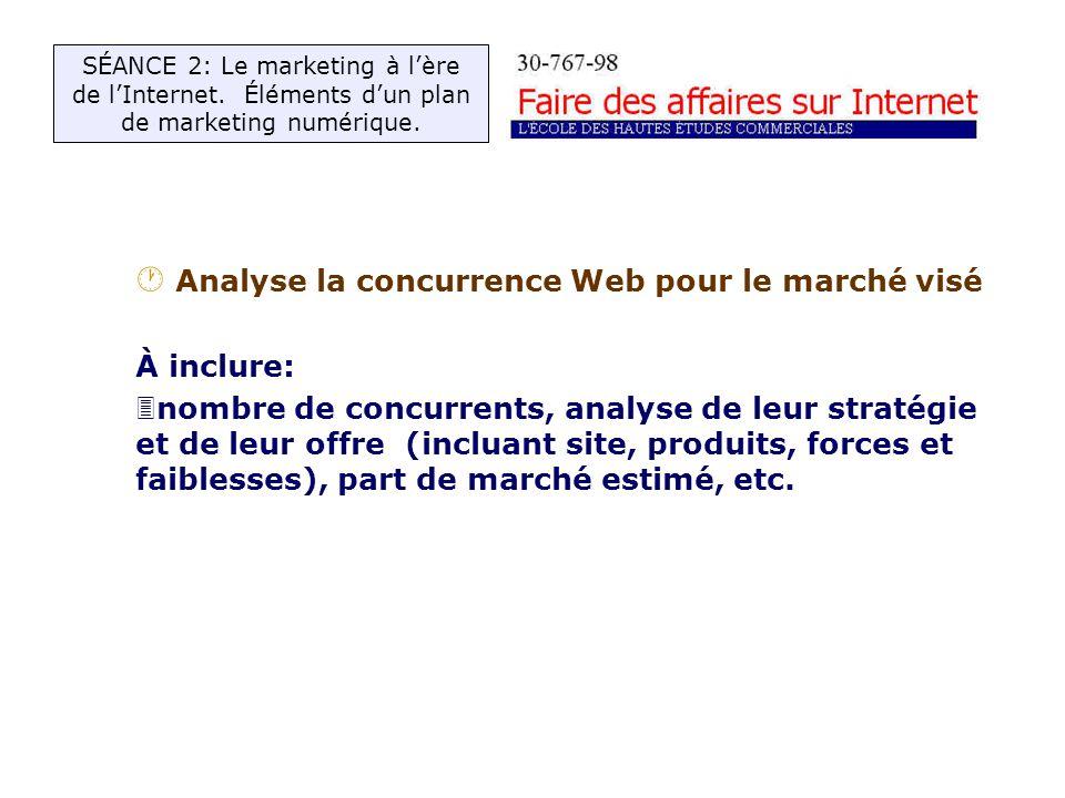 · Analyse la concurrence Web pour le marché visé À inclure: 3nombre de concurrents, analyse de leur stratégie et de leur offre (incluant site, produits, forces et faiblesses), part de marché estimé, etc.